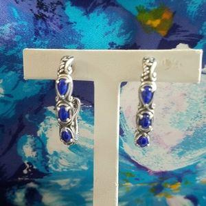 Carolyn Pollack Sterling Lapis Earrings